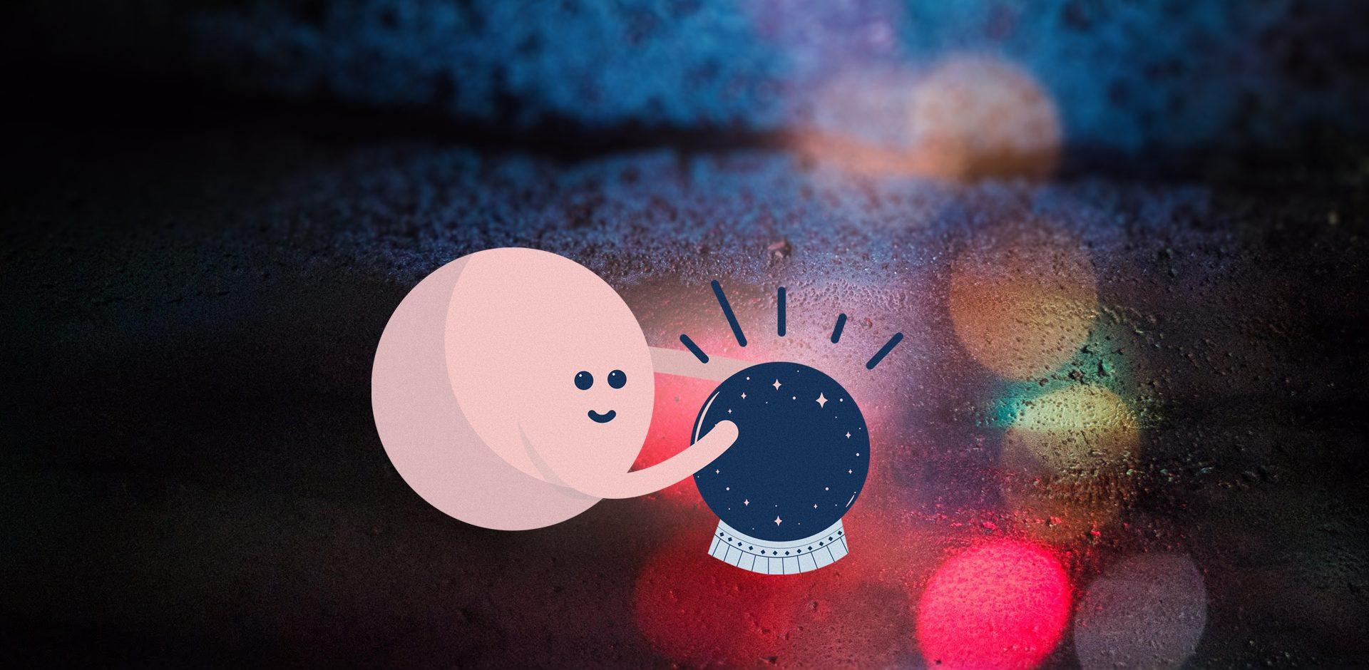 Prönö figure with a crystal ball